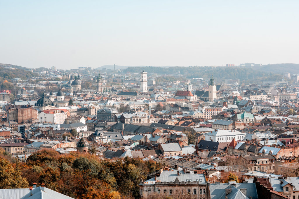 Cityscape skyline view on the old town of Lviv city during the sunny autumn in Ukraine