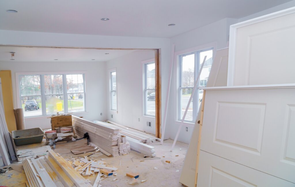 Construction material for under construction, remodeling and renovation from room white door and molding