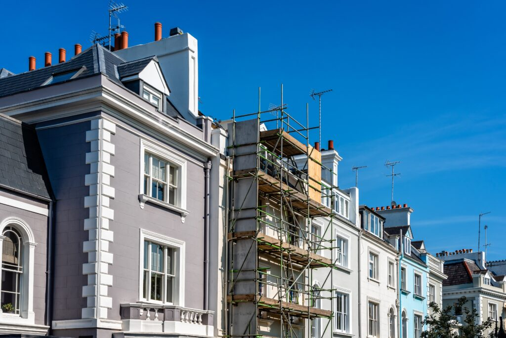 Colourful townhouses in Notting Hill, London, England, UK